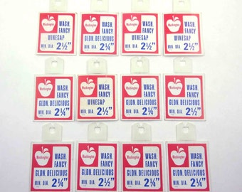 Vintage Grocery Store Pricing Tags for Produce Apples Set of 12