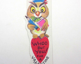 Vintage Children's Novelty Valentine Greeting Card with Adorable Little Brown Owl with Big Eyes Pencil Book