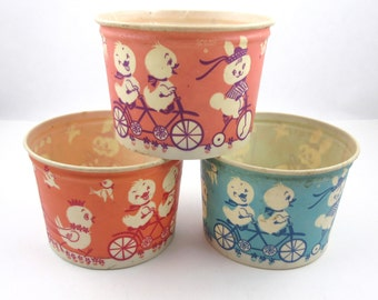 Vintage Waxed Cardboard Easter Cottage Cheese Containers Set of 3