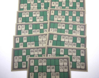 Vintage Extra Large Green Lotto Game Cards with Numbers Set of 11