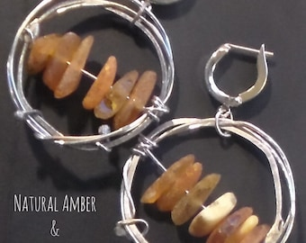 Raw Natural Amber and Sterling Earrings