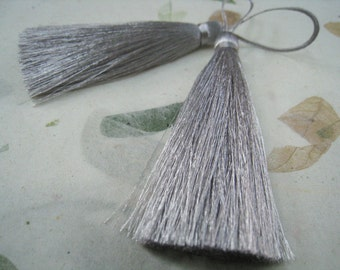 4 Pieces of Long Silk Tassel  - Number 28 Silver Gray