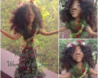 Needle Felted Forest Goddess Maia Sylvana Doll Fantasy Figure