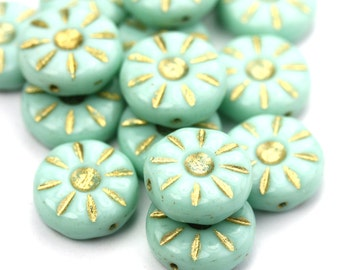 Czech Glass Bead Flower Daisy 12mm Pale Turquoise and Gold (10) CZP947