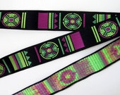 3 yards SHINTO Jacquard trim in lime, green, magenta on black. 1 inch wide. 2032-A