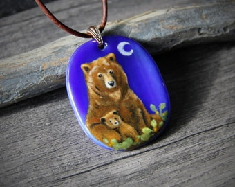 Brown Bear mom and baby in the night necklace - fused glass pendant,