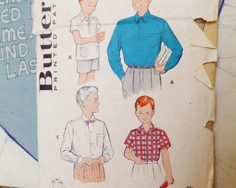 Vintage Boy's Shirt Pattern Button Down Shirt Pattern Boys Size 14 Vintage Butterick 1950's Collared Shirt Pattern Long Sleeve Short Sleeves