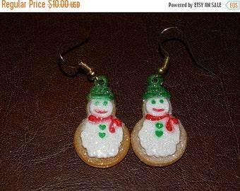 Gingerbread Earrings, Christmas Snowman Cookie Earrings, Holly, Icing Cookies, Ginger Christmas Cookies, Holiday Earrings, Frosty Earrings