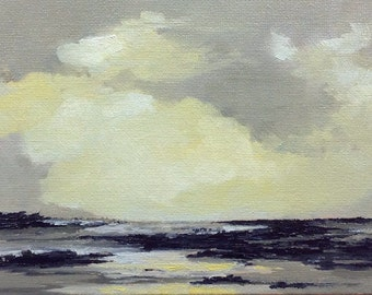 STILL COOL, oil painting landscape original oil, 100% charity donation, original painting  5x7 canvas panel, clouds, ocean