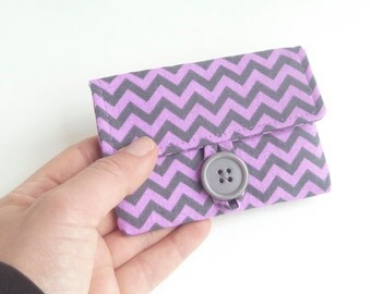 purple chevron credit card holder. fabric women card case. business card pouch. small gift. cloth material kawaii tween girl gift