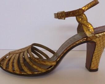 Vintage Gold Snakeskin Strappy Heeled Sandals 7