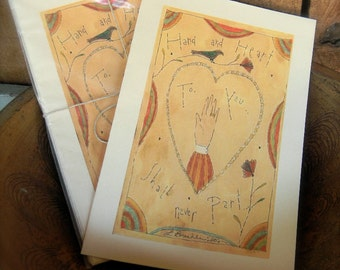 Hand and Heart - LIMITED EDITION Folk Art Notecards - from Notforgotten Farm™