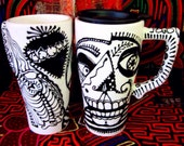 Pablo Picasso Skull 16 oz  Ceramic Travel Custom Handpainted for Day of the Dead and Everyday