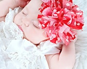 NEW style.  Red and pink TATTERED fabric and tulle bow.  Your choice of headband or clip.