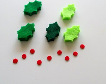 Holly Leaves,Small Holly Leaves , 36 Die Cut Felt Shapes,Holly Leaves With Berries