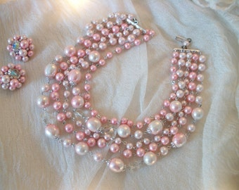 best vintage pale pink pearl 5 strand bead choker necklace & earring set, silver tone fittings, pink and crystal-look beads, bridal, wedding