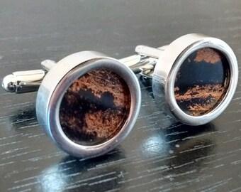 """Auto Metal Engine Gasket Cufflinks - """"Black Copper"""""""
