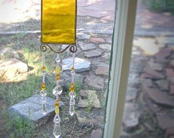 YELLOW SUNCATCHER stained glass, window decor, cabin decor, Glass prisms, hippie boho new age, metaphysical, RAINBOWS
