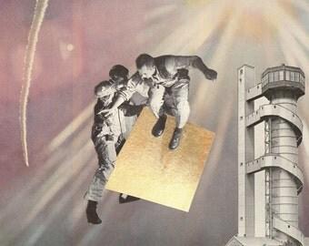 Original Collage - Leo & Pipo's First Magic Carpet Ride - collage art by livingferal