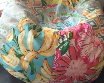 NEW Surfer Girl multi print bean bag with tropical flowers, turtles, bananas, flamingo and geometric prints Cover and Liner you fill