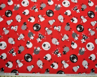 Timeless Treasures Tossed Knitting Sheep C9182 - Red - Fabric by the Yard