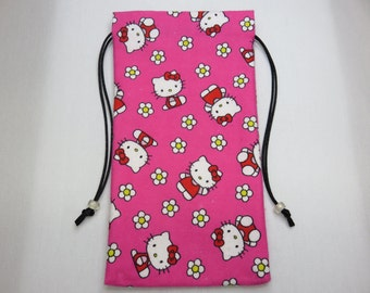 "Cozy Flannel Hello Kitty Silk Lined Tarot Card Pouch, Tarot Card Bag 4.5"" x 8.5"""