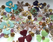 Vintage Enamel, Glass & Metal Flowers Components for Creating (Calico)