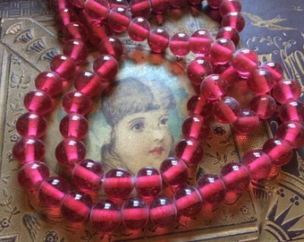 Vintage Glass Beads (10) (12mm) Stunning Dark Pink Handmade Japanese Glass Beads
