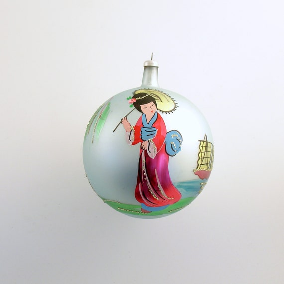 Vintage Christmas Large Glass Ornament Italy Japanese Lady