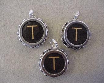 Black typewriter key PENDANT Initial T Typewriter Key CHARM Letter T INITIAL Pendant typewriter key jewelry Monogram