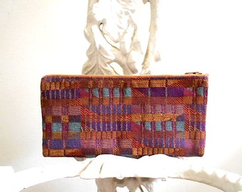 Geometric woven pencil case, utility pouch, cosmetic bag - 1980s vtg - eco vintage fabric