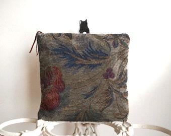 SALE Tapestry floral clutch foldover, iPad tech case - grey taupe, indigo, olive - eco vintage fabrics