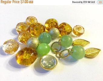 ON SALE Vintage Green and Amber Lucite bead destash