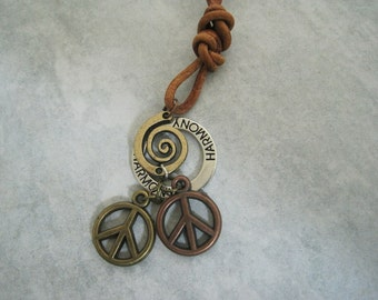 Peace and Harmony Brown Leather Necklace