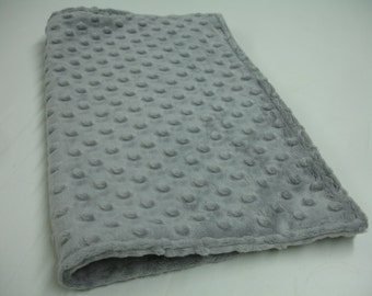 Silver Gray Double Sided Minky Blanket 11 x 14 READY TO SHIP