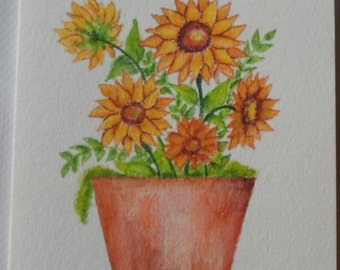 Sunflower Watercolor Card Hand Painted Sunflowers Greeting Card
