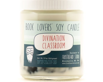 Divination Classroom - Book Candle -  Book Lover Gift - Scented Soy Candle - Frostbeard Studio - 8oz jar