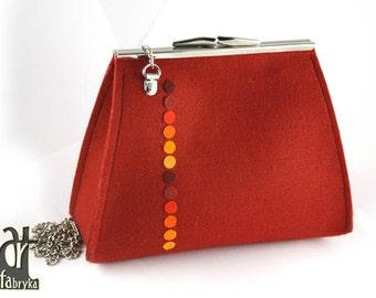 Cherry and color dots felt bag