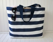 Striped Beach Bag  - Large Beach Bag - Waterproof Beach Bag - Beach Bag with Zipper - Pool Bag