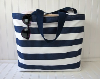 Items similar to Striped Beach Tote Bag Large Beach Bag Nautical ...