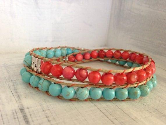 Light Blue and Peach Double Wrap Bracelet