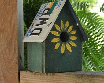 Rustic Birdhouse - License Plate Birdhouse - Sunflower Birdhouse - Primitive Birdhouse