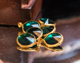 Vintage Emerald Green Acrylic Rivoli Channel Set 12mm 1 Loop Drops chr155K
