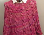 Ramblin' Rose Hand-knit Poncho