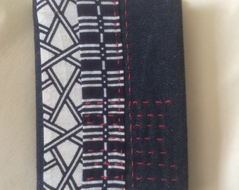 Lined notebook with removable hand embroidered cover