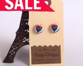 SALE- Sweet Button Earrings- Pink and Blue Queen Anne's Lace
