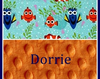 Baby Blanket~Baby Boy or Girl Blankets~Monogrammed Lovey~Shower Gift New Baby~Toddler Nap~Nemo~Dory~Disney Gift~