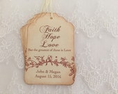 Faith Hope Love Tags Love Birds Wedding Favor Tags