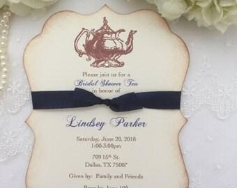 Tea Party Invitations Bridal Shower Tea Invites in Navy Blue Teapot Printed Invitations