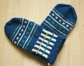 Hand-knit Scandinavian deep teal, green, yellow and white mittens -- Sibelius design